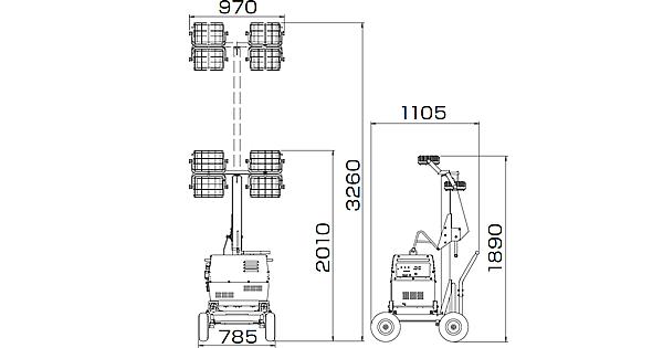 充電式LED投光機-寸法図