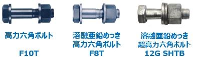 高力六角ボルトF10T、溶融亜鉛めっき高力六角ボルトF8T、12G溶融亜鉛めっき高力六角ボルト12G SHTB