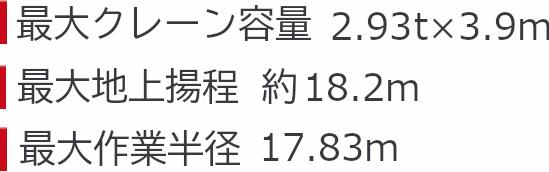 ミニクローラークレーン カニクレーン  (2.9t/7段)スペック